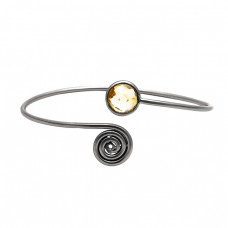 Stylish Golden Rutile Quartz Round Gemstone 925 Sterling Silver Gold Plated Bangle Jewelry