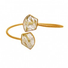 Fancy Shape Golden Rutile Quartz Gemstone 925 Sterling Silver Gold Plated Bangle Jewelry