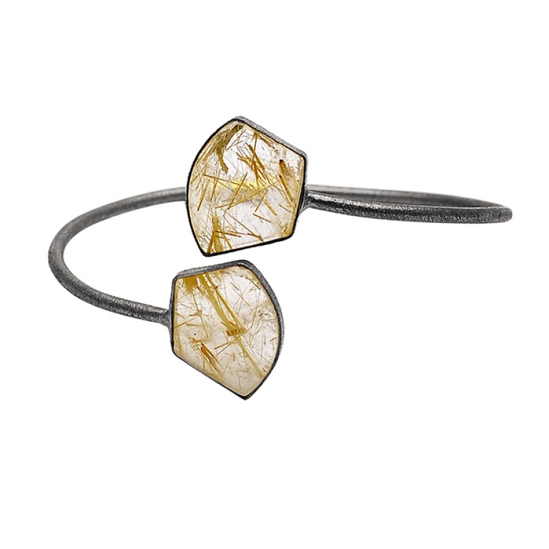 Fancy Shape Golden Rutile Quartz Gemstone 925 Sterling Silver Gold Plated Bangle Jewelry