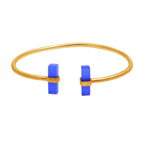 Rectangle Shape Blue Chalcedony Gemstone 925 Sterling Silver Gold Plated Bangle Jewelry
