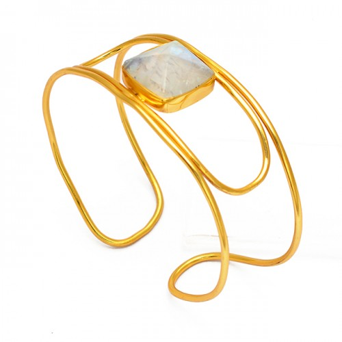 Square Shape Rainbow Moonstone 925 Sterling Silver Gold Plated Bangle Jewelry