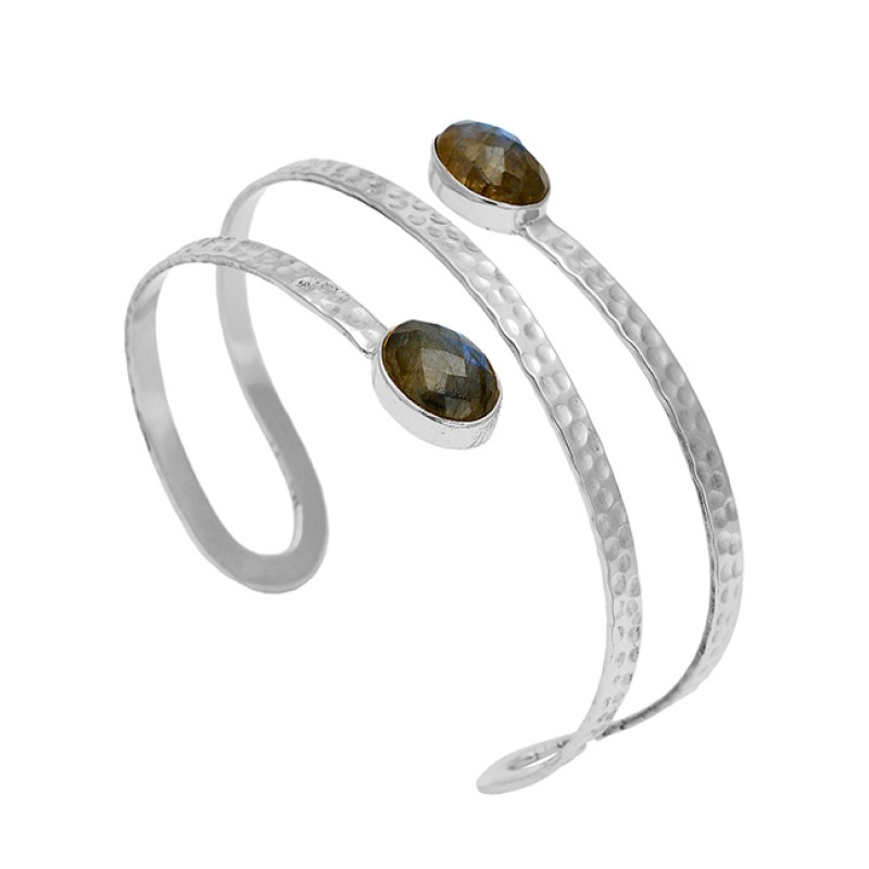 Hammered Finished Labradorite Gemstone 925 Sterling Silver Gold Plated Bangle Jewelry