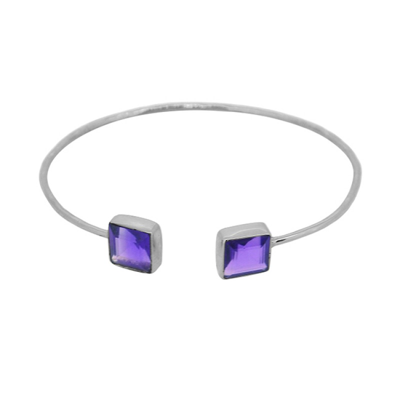 Square Shape Amethyst Gemstone 925 Sterling Silver Gold Plated Bangle Jewelry