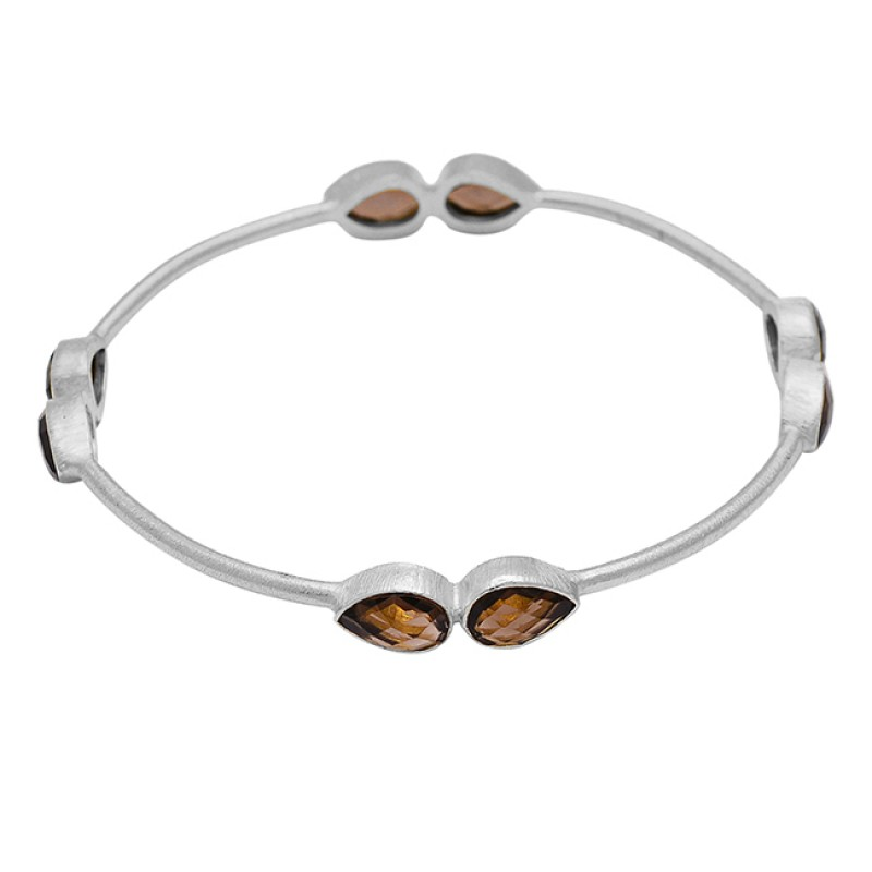 Briolette Pear Smoky Quartz Gemstone 925 Sterling Silver Gold Plated Bangle Jewelry