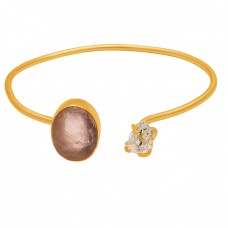 Rose Quartz Rough Herkimer Diamond Gemstone 925 Sterling Silver Gold Plated Bangle Jewelry