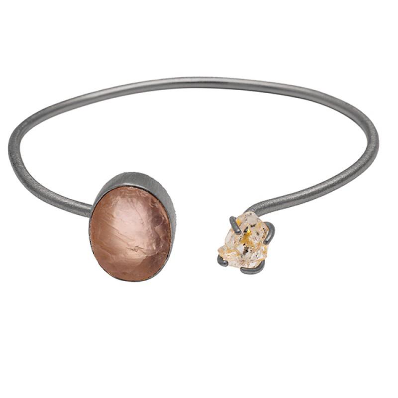 Rose Quartz Rough Herkimer Diamond Gemstone 925 Sterling Silver Gold Plated Bangle Jewelry