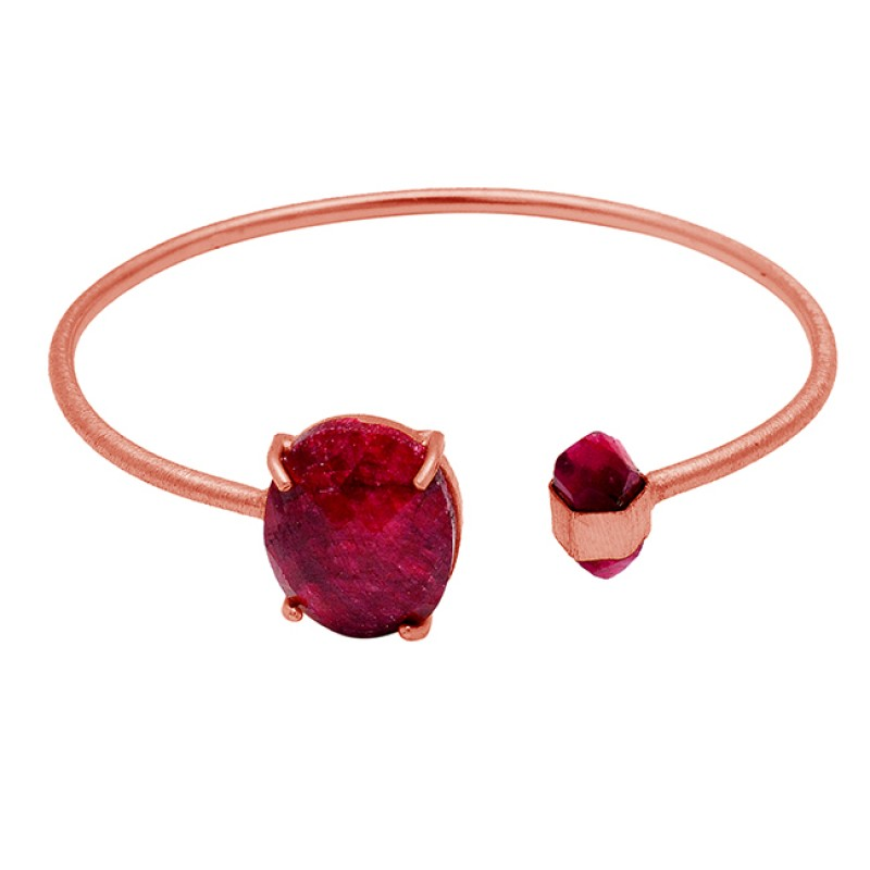Handcrafted Designer Red Ruby Gemstone 925 Sterling Silver Gold Plated Bangle Jewelry