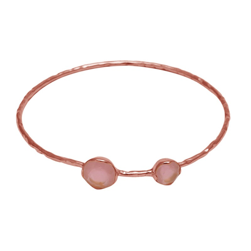 Rose Quartz round sterling silver gold plated bangle jewelry