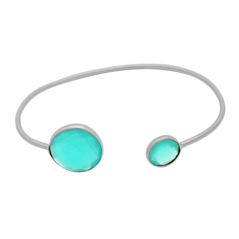 Briolette Round Aqua Chalcedony Gemstone 925 Sterling Silver Gold Plated Bangle Jewelry