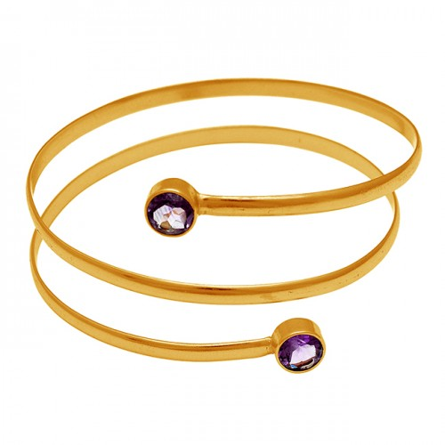 Faceted Round Amethyst Gemstone 925 Sterling Silver Gold Plated Bangle Jewelry