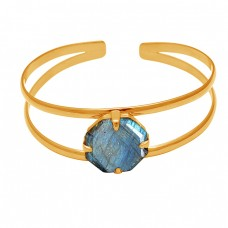 Prong Setting Labradorite Round Gemstone 925 Sterling Silver Gold Plated Bangle Jewelry