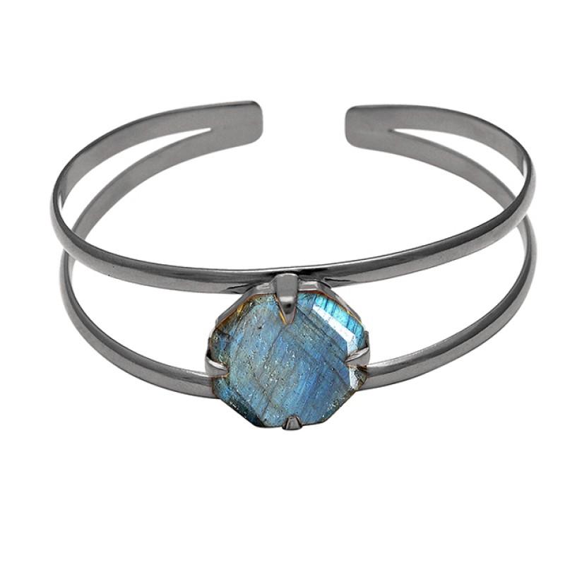 Prong Setting Labradorite Round Gemstone 925 Sterling Silver Gold Plated Bangle Jewelry