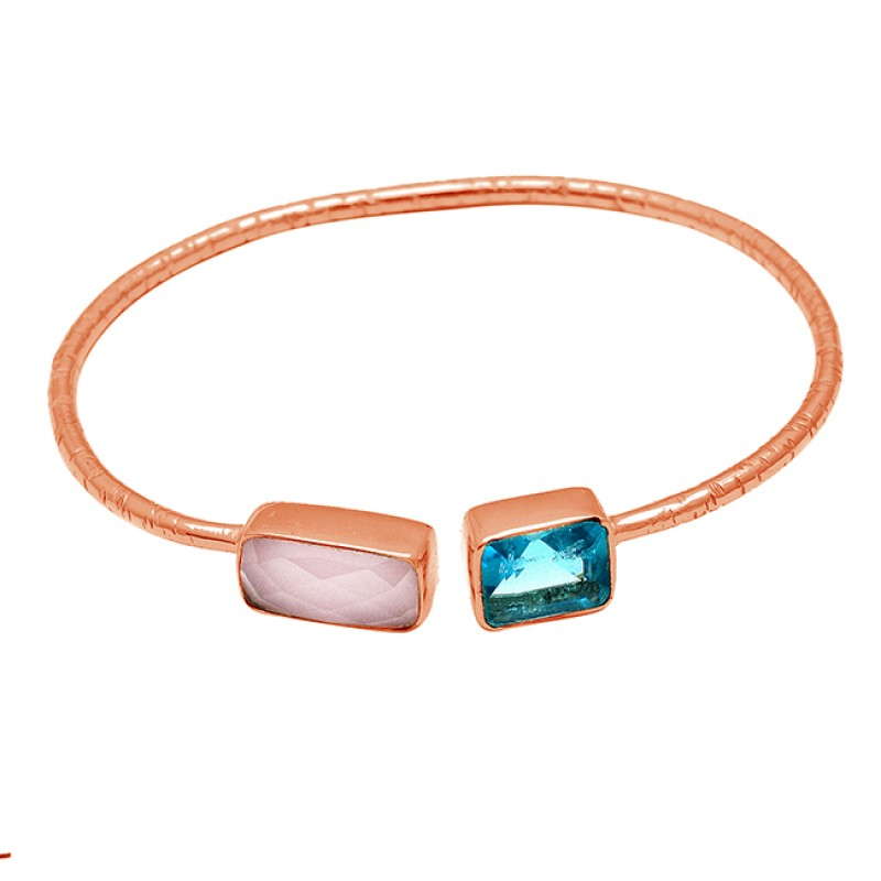 Rectangle Shape Chalcedony Topaz Gemstone 925 Sterling Silver Gold Plated Bangle Jewelry