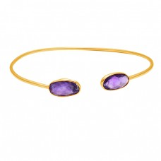 Briolette Oval Purple Amethyst Gemstone 925 Sterling Silver Gold Plated Bangle Jewelry