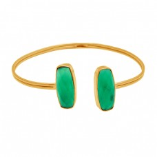 Cushion Briolett Green Onyx Gemstone 925 Sterling Silver Gold Plated Bangle Jewelry