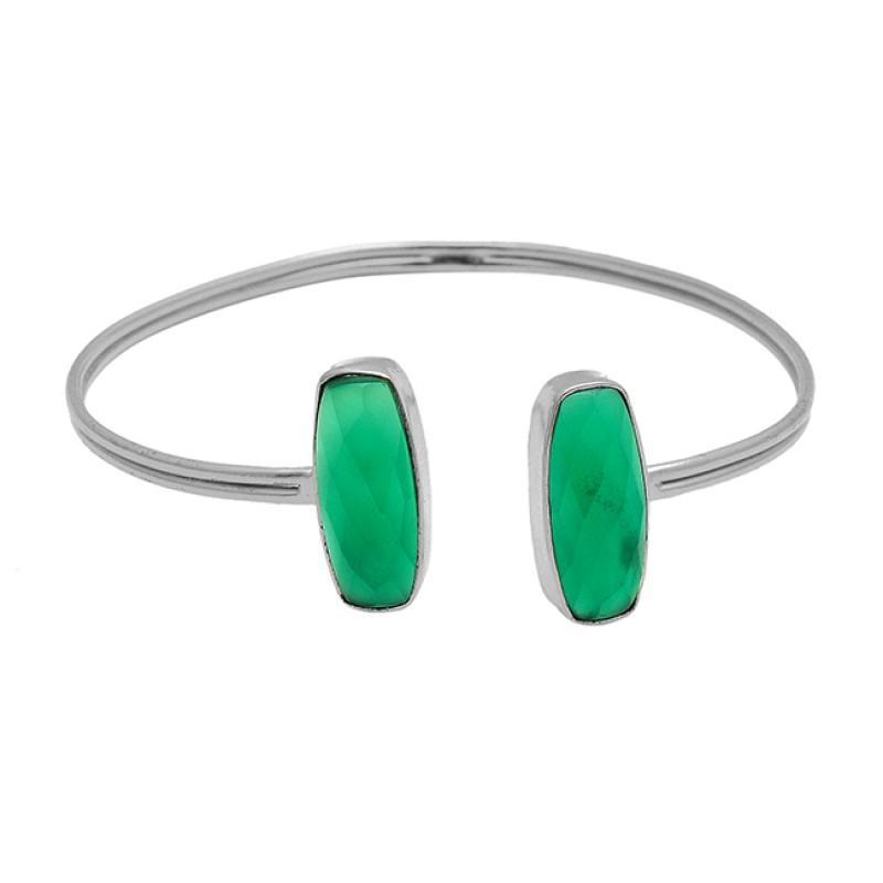 Cushion Briolett Green Onyx Gemstone 925 Sterling Silver Gold Plated Bangle Jewelry