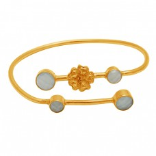Round Briolette Rainbow Moonstone 925 Sterling Silver Gold Plated Bangle Jewelry