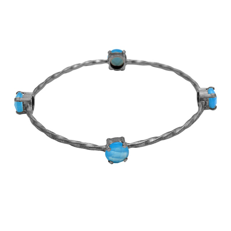 Faceted Round Blue Chalcedony Gemstone 925 Sterling Silver Gold Plated Bangle Jewelry