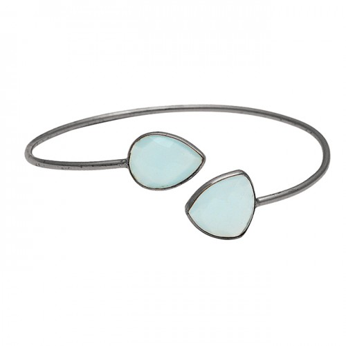 Pear Triangle Shape Chalcedony Gemstone 925 Sterling Silver Gold Plated Bangle Jewelry