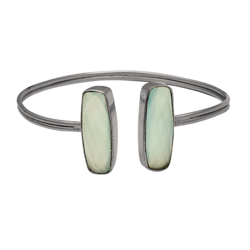 Briolette Cushion Chalcedony Gemstone 925 Sterling Silver Gold Plated Bangle Jewelry
