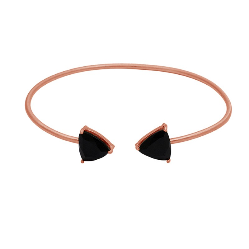 Black onyx sterling silver gold plated bangle jewelry