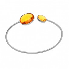Round Shape Citrine Gemstone 925 Sterling Silver Gold Plated Bangle Jewelry