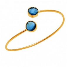Round Briolette Blue Quartz Gemstone 925 Sterling Silver Gold Plated Bangle Jewelry
