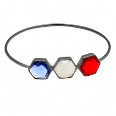Hexagon Shape Red Blue Color Quartz Moonstone 925 Sterling Silver Gold Plated Bangle Jewelry