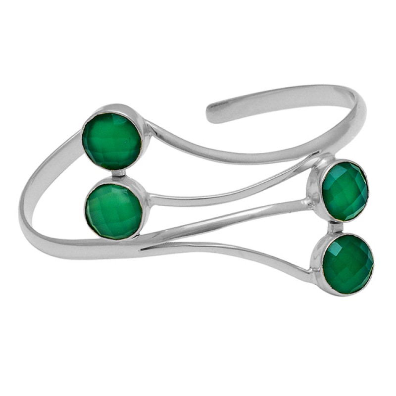 Round Shape Green Onyx Gemstone 925 Sterling Silver Gold Plated Bangle Jewelry
