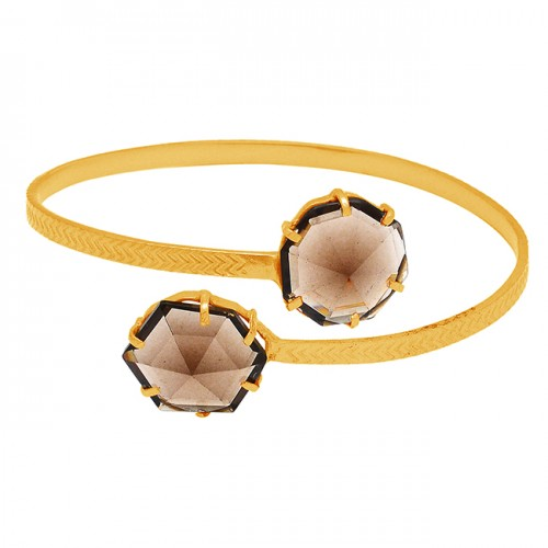 Hexagon Shape Smoky Quartz Gemstone 925 Sterling Silver Gold Plated Bangle Jewelry