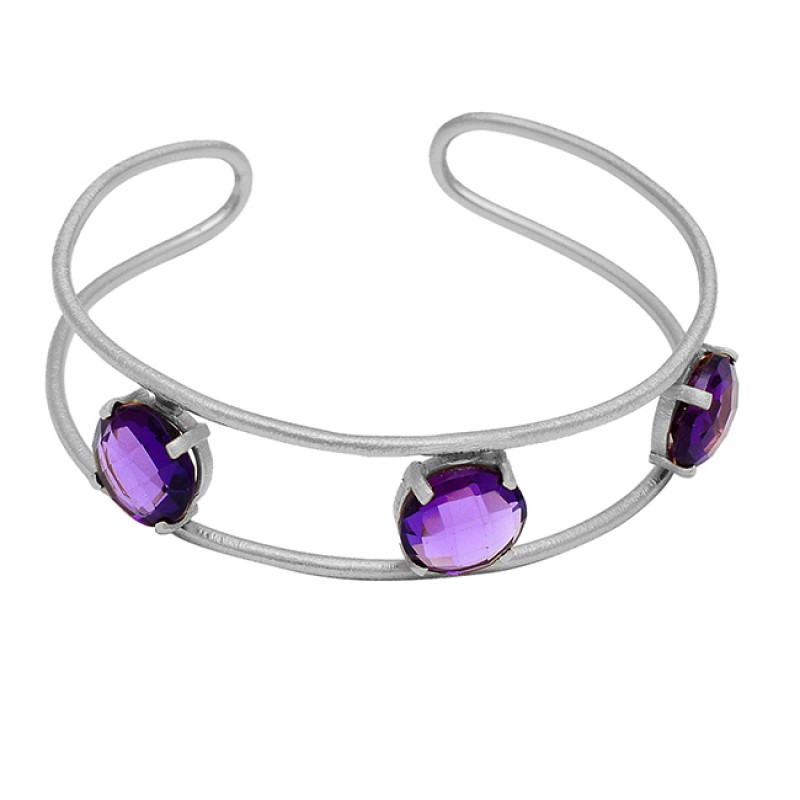 Amethyst Gemstone 925 Sterling Silver Gold Plated Prong Setting Bangle Jewelry