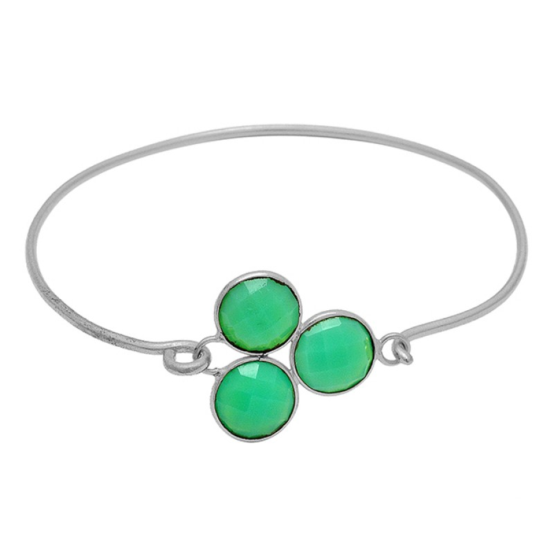 Prehnite Chalcedony Gemstone 925 Sterling Silver Gold Plated Bangle Jewelry