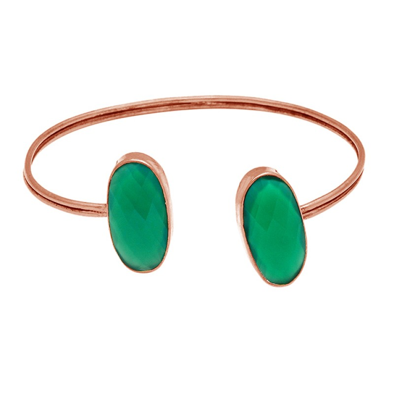 Oval Briolette Green Onyx Gemstone 925 Sterling Silver Gold Plated Bangle Jewelry