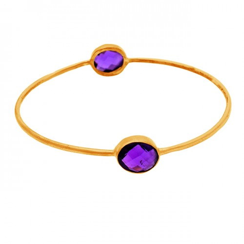 Amethyst oval sterling silver gold plated bangle jewelry