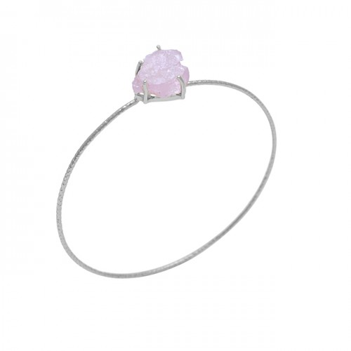 Rose Quartz Gemstone 925 Sterling Silver Jewelry Gold Plated Bangle