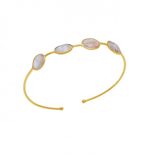 Oval Shape Golden Rutile Quartz Gemstone 925 Silver Jewelry Bangle