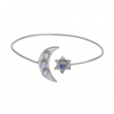 Pearl Rainbow Moonstone 925 Sterling Silver Jewelry Bangle Suppliers