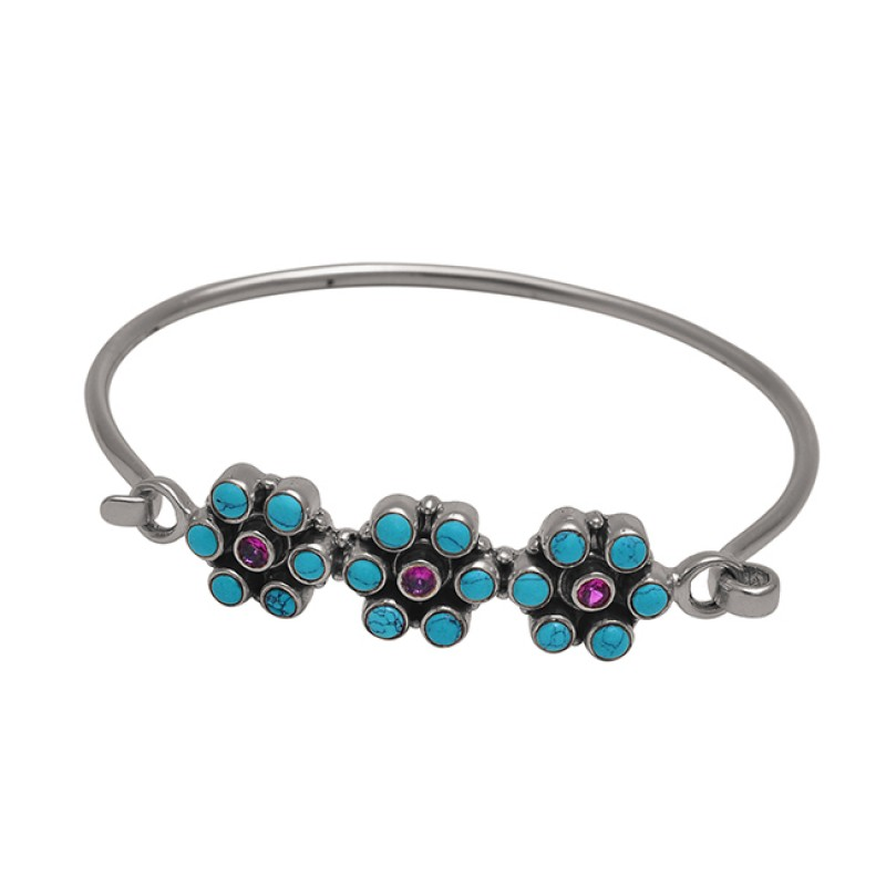 Turquoise Amethyst Gemstone 925 Sterling Silver Jewelry Bangle