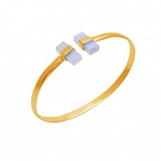 Rectangle Moonstone 925 Sterling Silver Jewelry Gold Plated Bangle