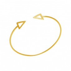 925 Sterling Silver Jewelry Gold Plated Triangle Shape Plain Bangle