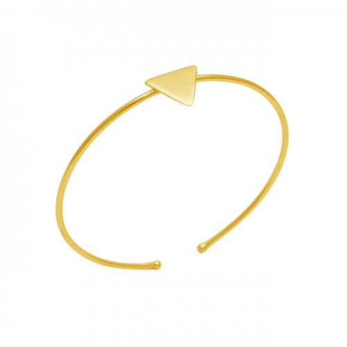 Plain Handmade Designer 925 Sterling Silver Jewelry Gold Plated Bangle