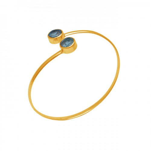 925 Sterling Silver Jewelry Round Apatite Gemstone Gold Plated Bangle