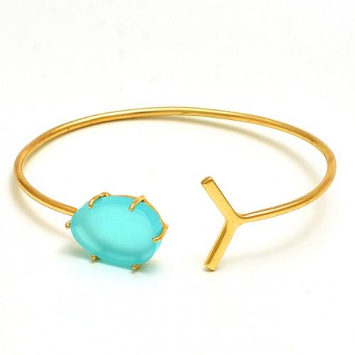 Oval Shape Aqua Chalcedony Gemstone 925 Silver Jewelry Gold Plated Bangle