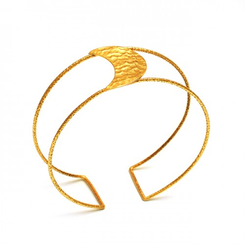 925 Sterling Silver Jewelry Gold Plated Handmade Jewelry Bangle