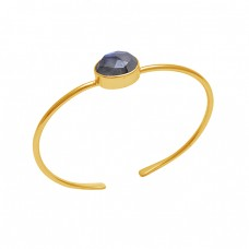 Oval Labradorite Gemstone 925 Sterling Silver Jewelry Gold Plated Bangle