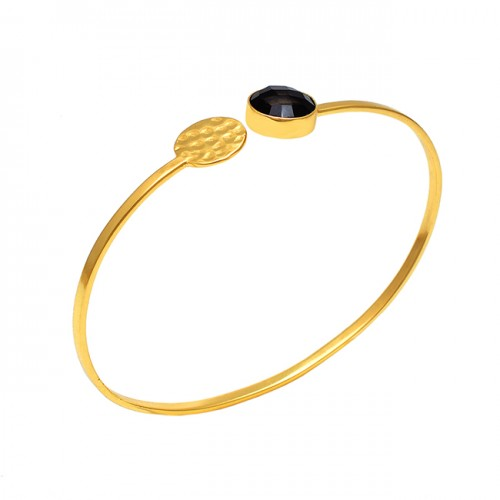 Round Black Onyx Gemstone 925 Silver Jewelry Gold Plated Bangle