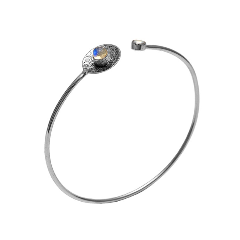 925 Sterling Silver Jewelry Gold Plated Gemstone Handmade Bangle