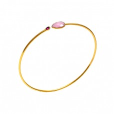 925 Sterling Silver Jewelry Gemstone Gold Plated Designer Bangle