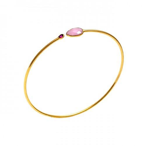 925 Sterling Silver Jewelry Gemstone Gold Plated Designer Bangle