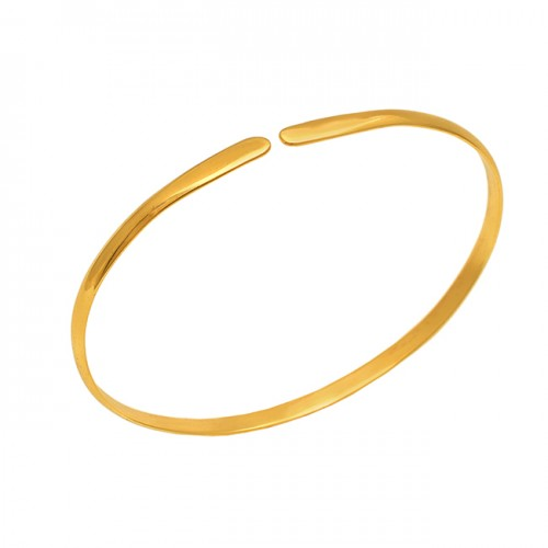 925 Sterling Silver Jewelry Plain Handcrafted Gold Plated Bangle